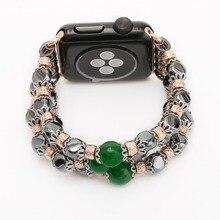2017 Mode Pur Naturel Pierre Lien Bracelet Bandes Pour Apple Watch 2 42mm 38mm Avec 316L Acier Inoxydable Adaptateurs