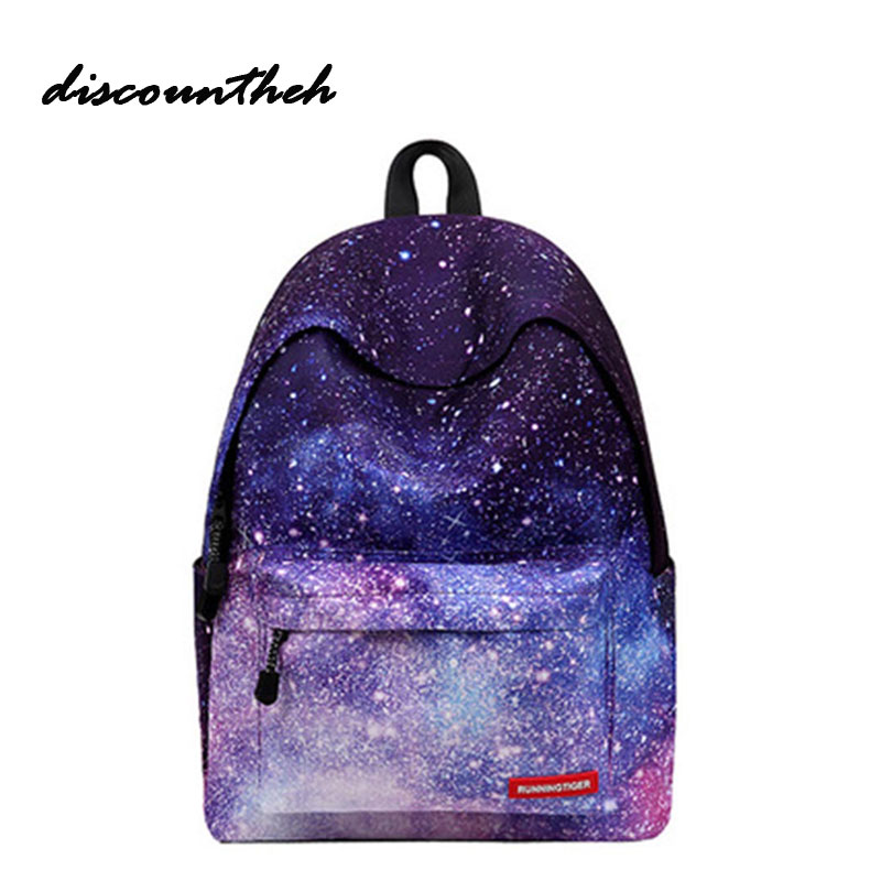 Fashion Multicolor Teenager Canvas Backpack Stylish Galaxy Star Universe Space Backpack Girls School Backbag