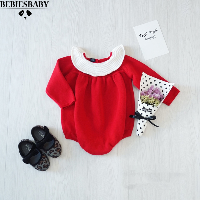 2016 INS Autumn Newborn Baby girl rompers Kids Toddler Girl Overalls Knitted Rompers Sweet  Clothings Princess Clothes Red White 2017 new fashion cute rompers toddlers unisex baby clothes newborn baby overalls ropa bebes pajamas kids toddler clothes sr133