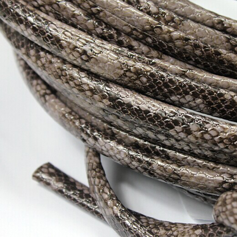 1 Yard 10mmx6mm Ash Base Snake Skin Pattern Licorice Leather Strip, Outside PU with Inside Cowhide SLL-209 image