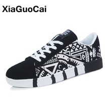Купить с кэшбэком 2017 Spring Autumn Fashion Men Shoes Lace Up Men Casual Shoes Breathable Graffiti Flats X28 65