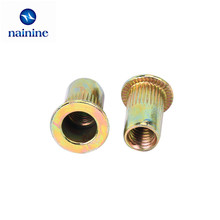 50Pcs M3 M4 M5 M6 M8 Zinc Plated Carbon Steel Knurled Nuts Rivnut Flat Head Threaded Rivet Insert Nutsert Cap Rivet Nut HW111