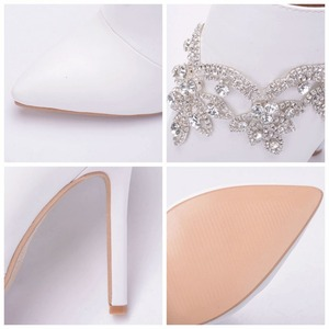 Image 3 - Crystal Queen Fashion Women High Qulaity Ankle Boots Shoes Sexy High Heels Zipper Shoes Woman Party Wedding Riding Boots