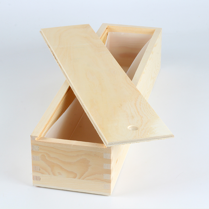 Long Size Soap Silicone Mold White Rectangle With Wood Box For Handmade Swirl Loaf Soaps Making Tool Mould
