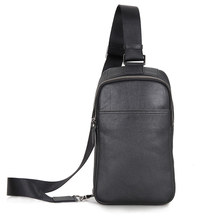 JMD Vintage Leather High Qualty Chest Bag Fashion Office Black Cross Body Backpack 4001A