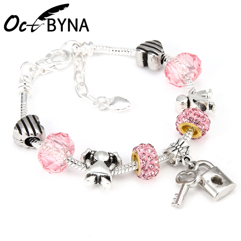 Octbyna Dropshipping Romantic Love DIY Charm Bracelet Love Heart Key and Lock Pandora Bracelet for Women Jewelry Girlfriend Gift