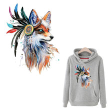 fox iron on heat patches flower animal clothing accessories A-level washable clothes diy stickers retro popular patch
