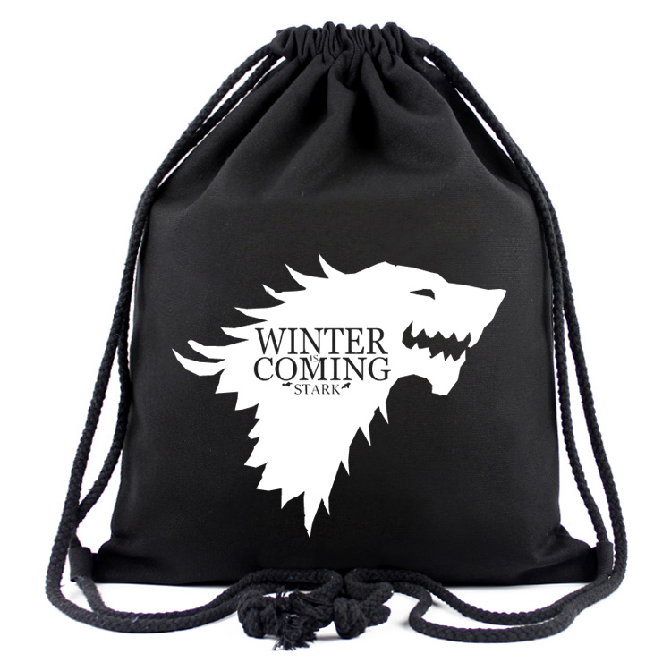 Game Of Thrones Canvas Drawstring Bags Cartoon Mochild Boys Girls Shopping Travel Bags School Backpack Party Gifts