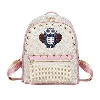 2018 New Fashion Women Backpack School girls Small Backpack PU Cute Cartoon Owl Pop Rivet Punk double Shoulder Bag