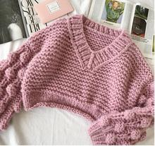 Women Lantern Sleeve Ball Short Sweater Streetwear Female High Waist Vintage Knitting Pullover