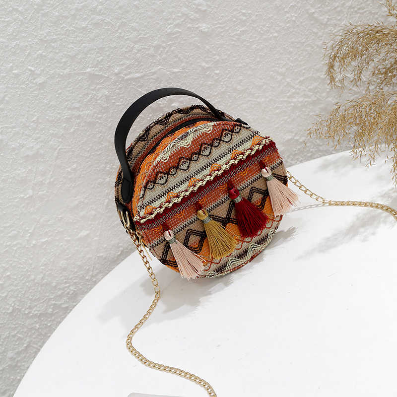Sacos de pequeno Círculo Boêmio para as mulheres da cadeia de bolsa de borla rodada tecido tote bolsas de ombro crossbody mulheres mensageiro sacos retro