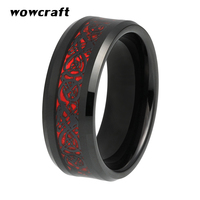 8mm Black Mens Tungsten Rings Red Carbon Fiber and Dragon inlay Celtics Wedding Bands Fashion Engagement Ring Comfort Fit