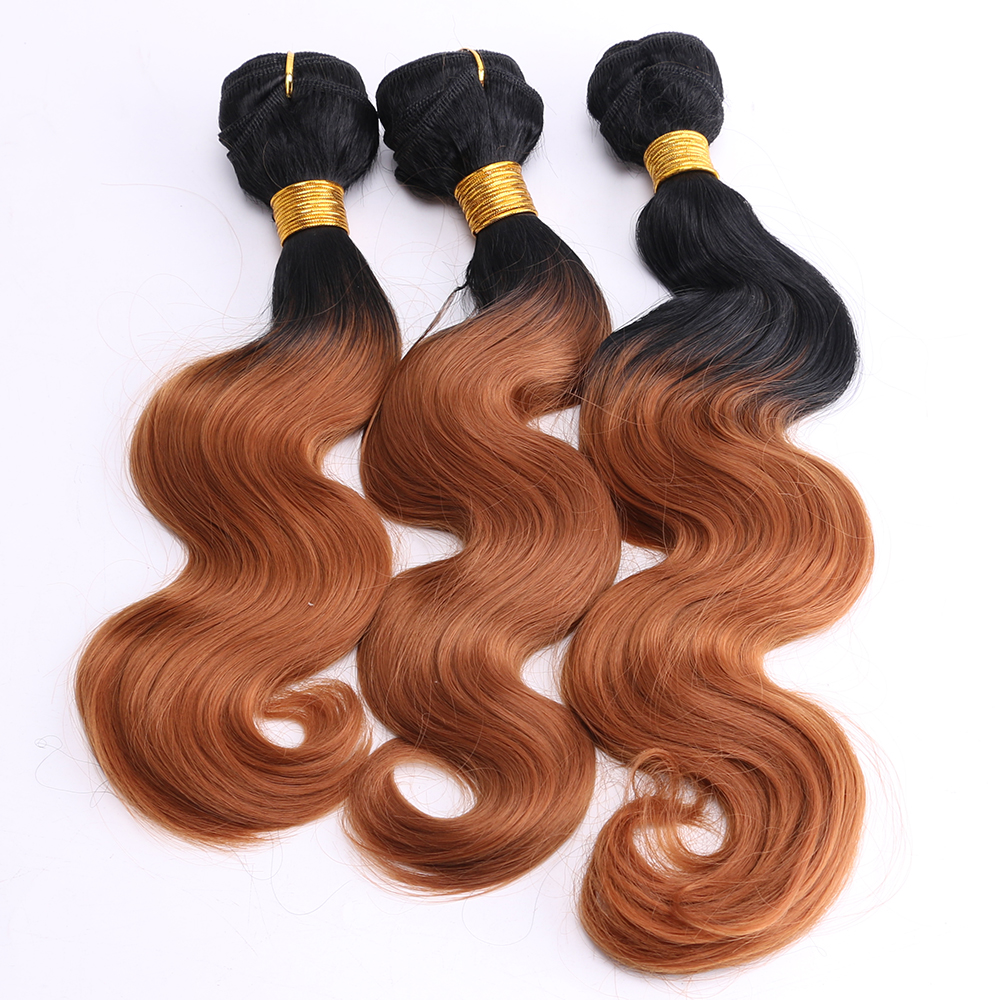Black to Brown Ombre color High Temperature synthetic Hair Extensions 8-24 inch available 100g/pcs Body wave bundles(China)