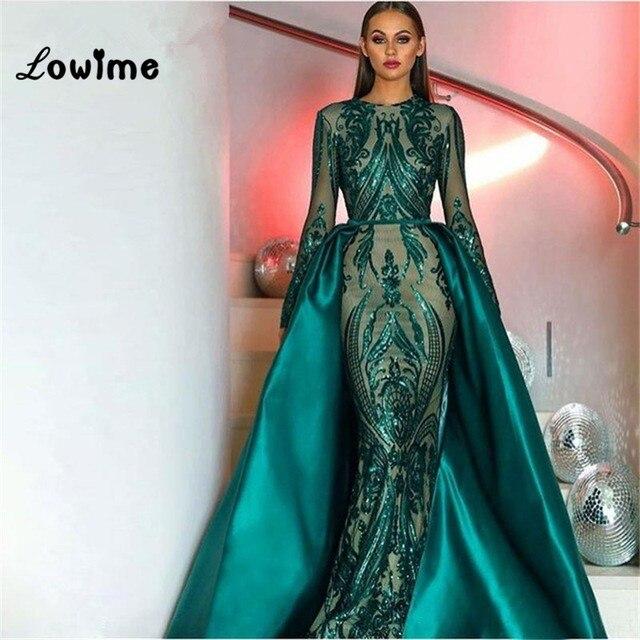 Dress Elegant Green Sequin Evening Dress Long Sleeves Detachable Train  Mermaid Prom Dresses 2018 Party Gowns Vestido De Festa d556c376d543