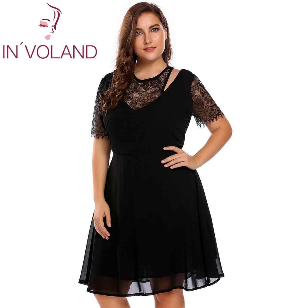 ac8304b3a3beb IN'VOLAND Plus Size Women Lace Dress Spaghetti Strap Short Sleeve Patchwork  Cold Shoulder A-Line Large Dresses Big Size L-4XL