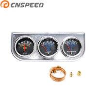 CNSPEED Universal 2 52MM 3 In 1 AMP Meter Oil Pressure Water Temp Gauge Chrome Triple