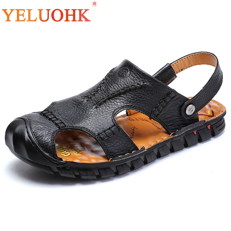 Handmade Men Sandals Soft Comfortable Leather Sandals Men Black Brown Men Summer Shoes