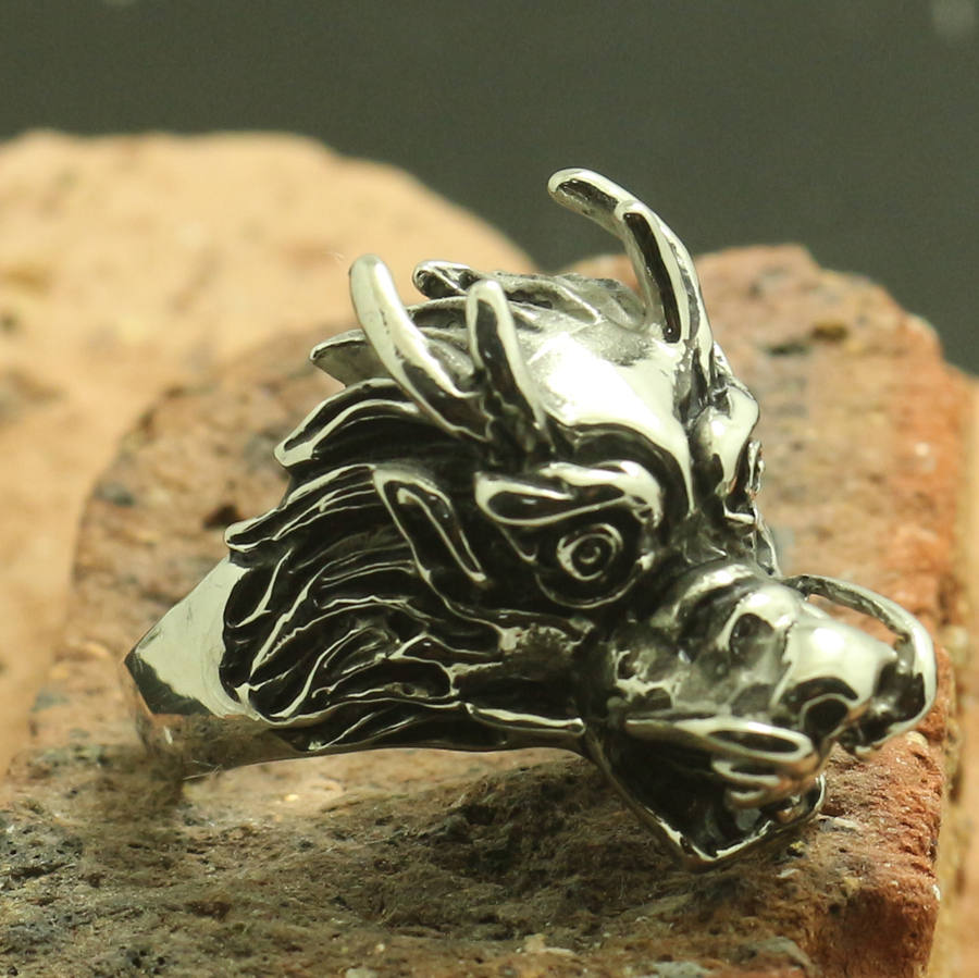 Mens Boys 316L Stainless Steel Punk Gothic Dragon Ring