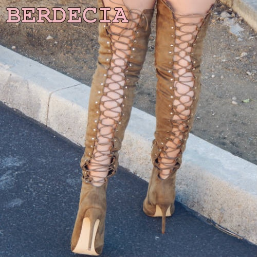 New Style spring summer Women Over The Knee Gladiator Boots khaki color suede Lace-Up High Heel Shoes Thigh High Boots photo