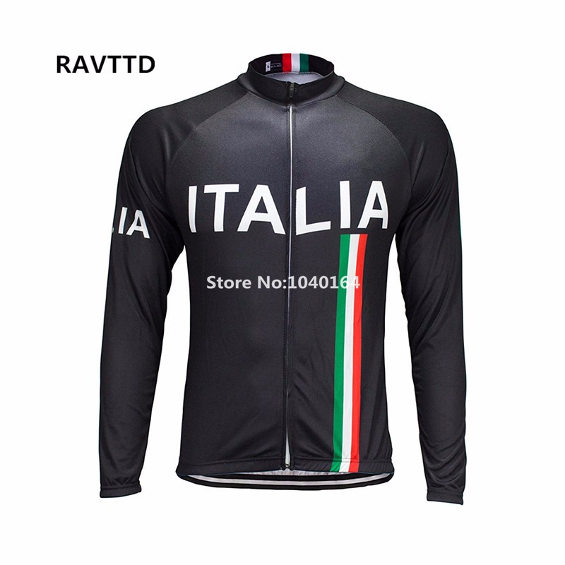 Autumn Cycling Jersey Long Sleeve Italy Bike Bicycle Clothing Bike Riding Cycling Clothing Roupa Ciclismo Black