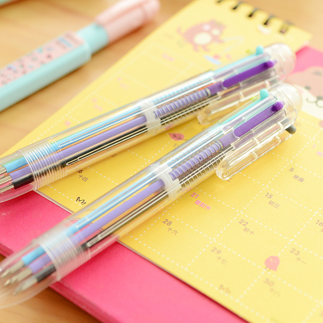 Мульти 6 Цвет в один комплект цвета — красный, синий, Черный Шариковая ручка для письма школьные канцелярские принадлежности стати One ry дети