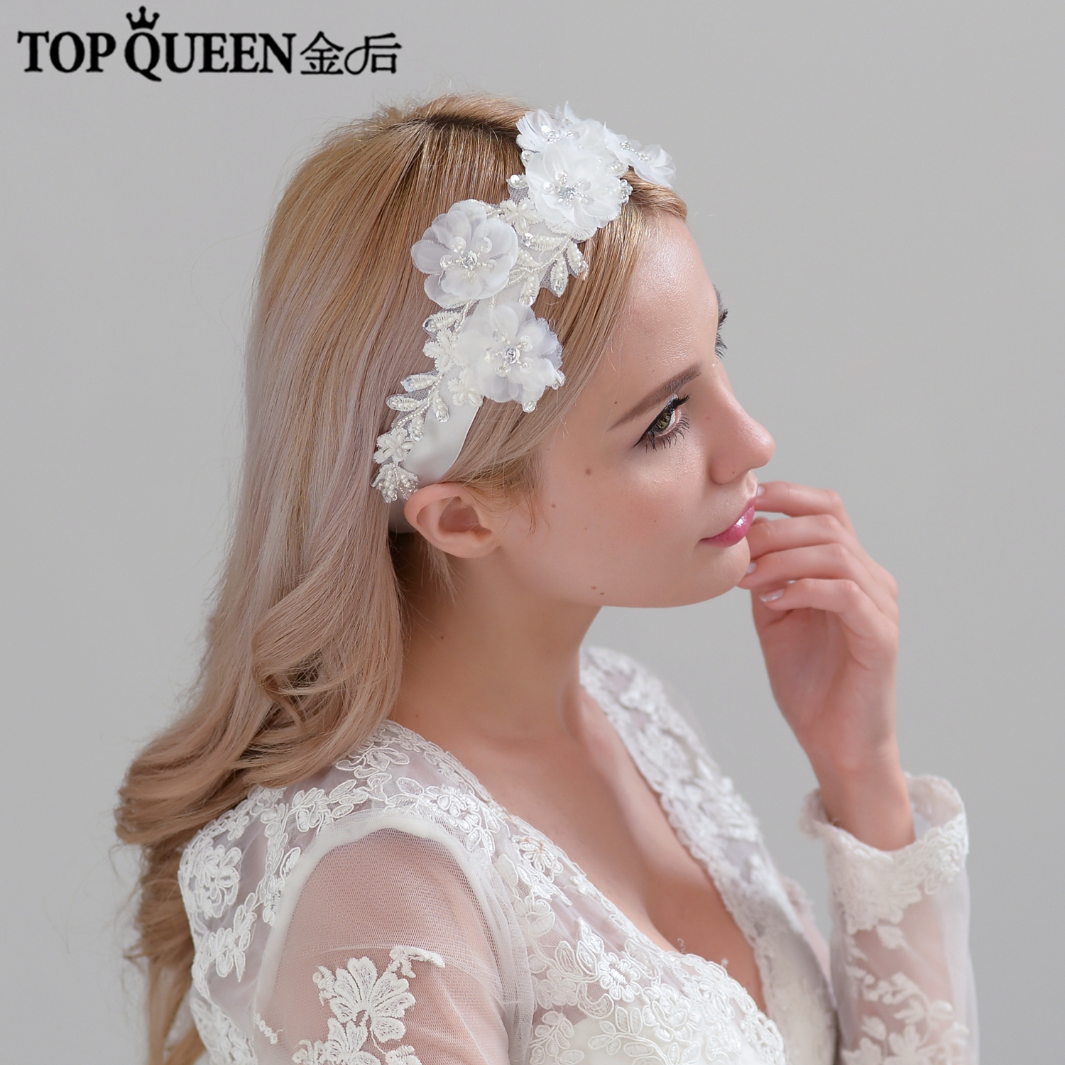 TOPQUEEN H249 Bridal Headbands Wide Wedding Hair Accessories Lace Flowers With Rhinestone Bridal Headpieces Fast Shipping Stock
