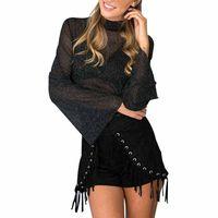 Fashion Women See Through Tops Ruffled Long Sleeve Casual T Shirts RZ