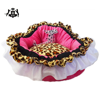 Princess Dog Bed Pink Leopard Pet House Dog Bed For Small Medium Dogs Cama Perro Pet