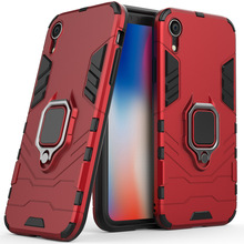 2 In 1 Magnetic Ring Kickstand Armor Case For iPhone XR Anti Shock Impact Protective Back Cover Apple (6.1 Inches)