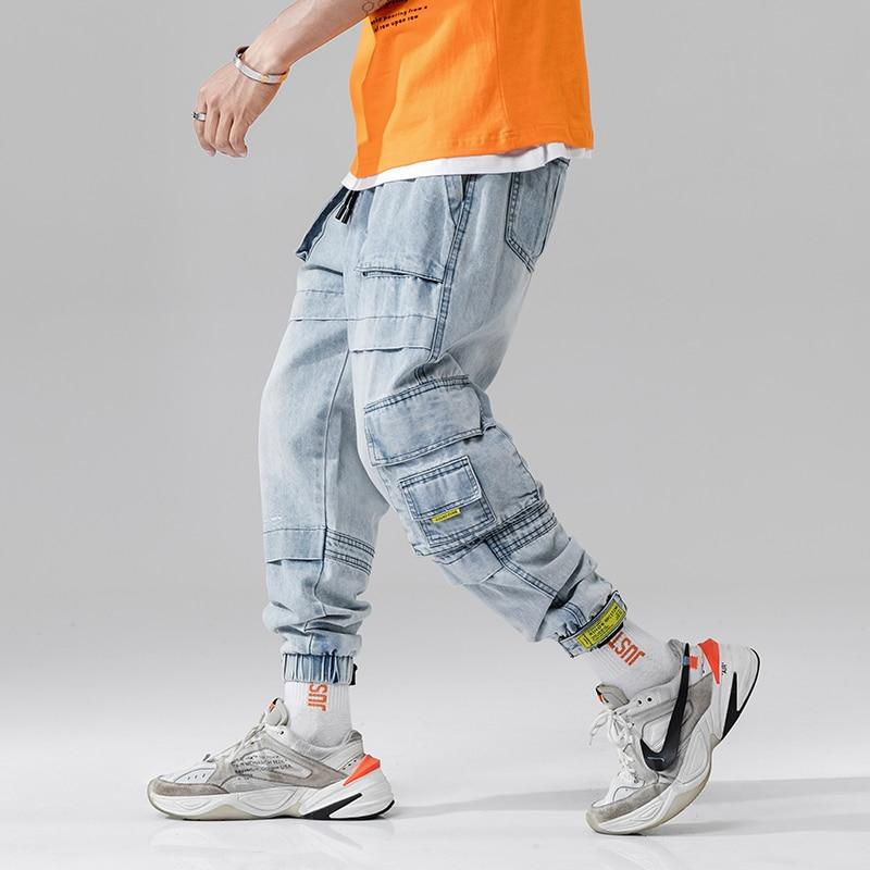 2019 Hot Autumn Street Washing Process Big Multi-Pockets Men's Jogger Jeans Fashion Casual Male Pencil Denim Jeans Streetwear