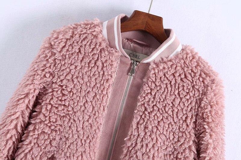 Plus Manteaux Survêtement Automne Épais Hairly La Rose En Chaud Manteau Faux D'hiver 2018 De Femelle Peluche Taille Solide Fourrure Femmes Veste qXTczwfSF