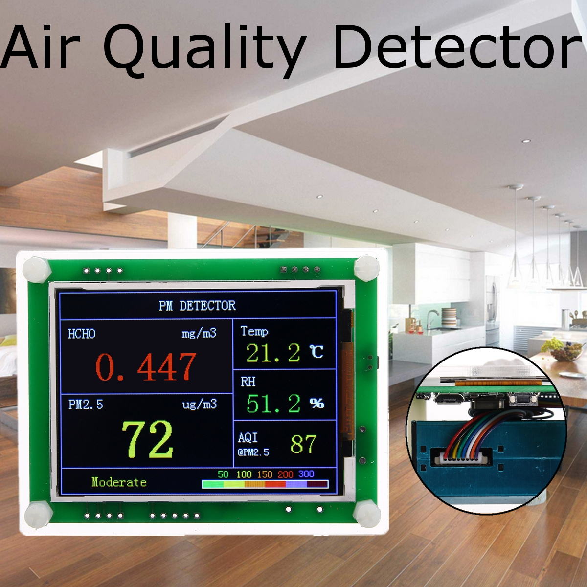 A3 PM2.5 2.8 inch TFT Screen Air Quality Detector High Sensitivity Sensor Real-time Detection for Home Office Car Semi-closing real time driver s fatigue detection