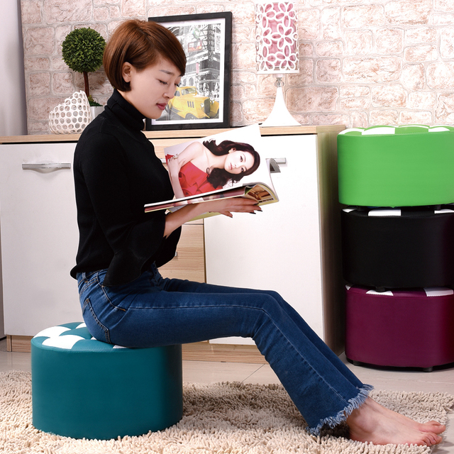 Promotion modern fashion excellent quality adult living room sofa fashion  small round stool sofa stool  wood  shoes stool