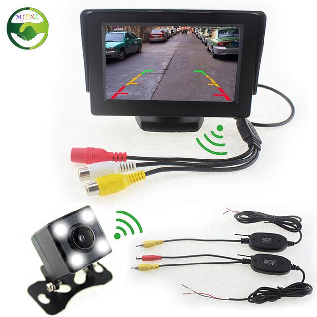 """Assistência De Estacionamento Auto Monitores. sem fio 4.3 """"LCD Monitor de Visão Traseira Do Carro Da Câmera Sem Fio Com Receptor Transmissor Kit Carro"""