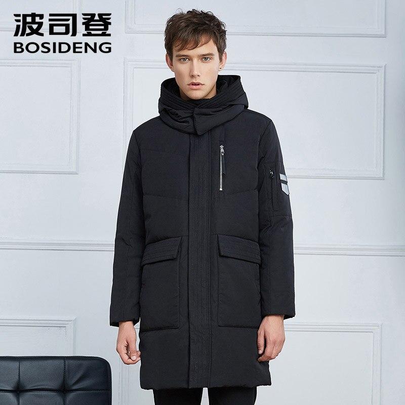 BOSIDENG new men down coat mid-long down jacket thick warm winter outwear Long Parka big pocket hood high quality B1601241 цена