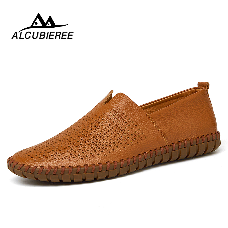 Big Size 39-50 Leather Mens Shoes Summer Breathe Men Luxury Driving Shoes Slip on Casual Male Loafers Hot Sale 2018 New oudiniao men shoes big size lace up comfort split leather men casual shoes handmade loafers luxury slip on mens shoes casual