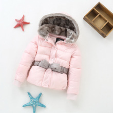 YNB Gray Pink Keep Warm KIds Winer Coat Girls Cotton Clothes Children Solid Jacket with Bow Belt  Fist 2-10Years