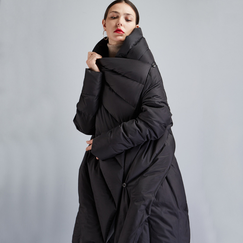 Women Loose Black Down Jackets Womens Winter Back Split Down Cloak Coats ...