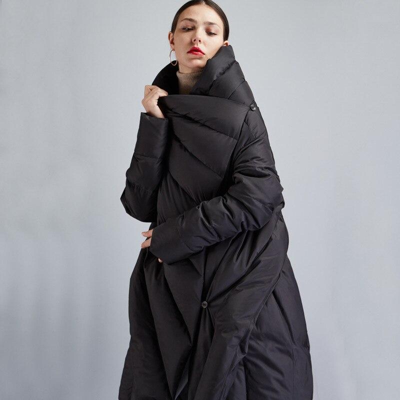 Women's Loose Black Down Jackets Women's Winter Back Split Down Cloak Coats
