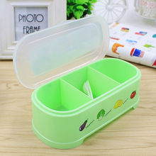 1PCS 3 Grids Plastic Containaer Holder for Seasoning Rack Spice Pots Box Storage Container Condiment Jar Kitchen Tool 5zCF263(China)