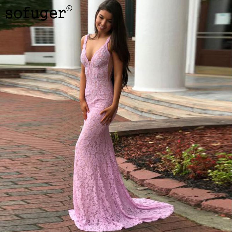 Lilac Sexy Lace Prom Dresses Sleeveless Mermaid Backless Party Evening Dress Vestidos De Festa