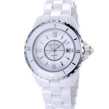 2017  Fashion  Authentic Casual Diamond NAKZEN Top Brand Luxury Classic White Ceramic Quartz Watch  Waterproof Ladies Watch