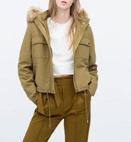 2015 Autumn Winter ZA Geuine Brand Women Khaki Wool Detachable Fur Hooded Jacket Cotton Padded Short
