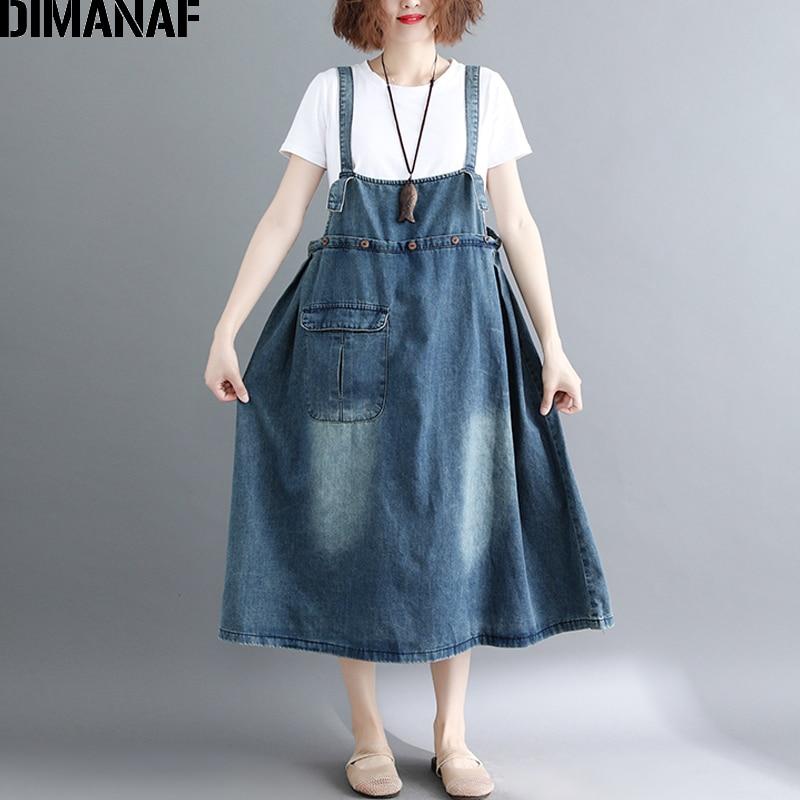 fa22d224cb0 DIMANAF Women Dress Plus Size Denim Blue Loose Sleeveless Long Jeans Dress  2018 Summer Oversized Femme Large Clothing Dress M-XL