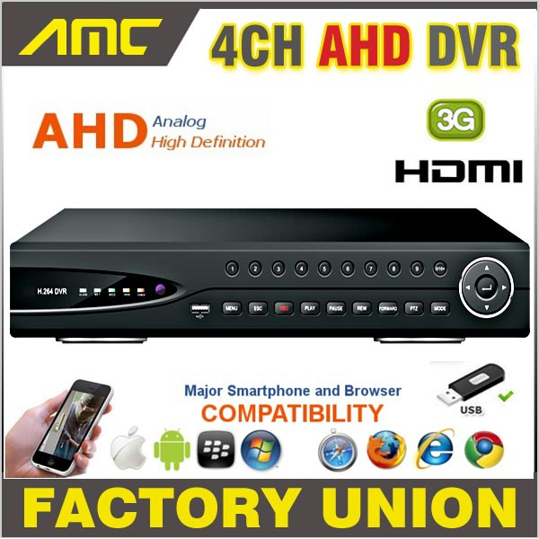 AHD 4 Channel CCTV DVR 720P Real Time Digital Video Recorder H.264 Hybrid NVR DVR 4CH Channel HDMI Output for AHD Camera