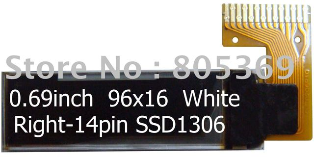 0.69inch 96x16 right-14pin white OLED display
