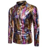 Camouflage bronzing t shirt men tshirt camisa masculina teenage fashion slim sexy t shirts mens Long sleeve t shirt lapel