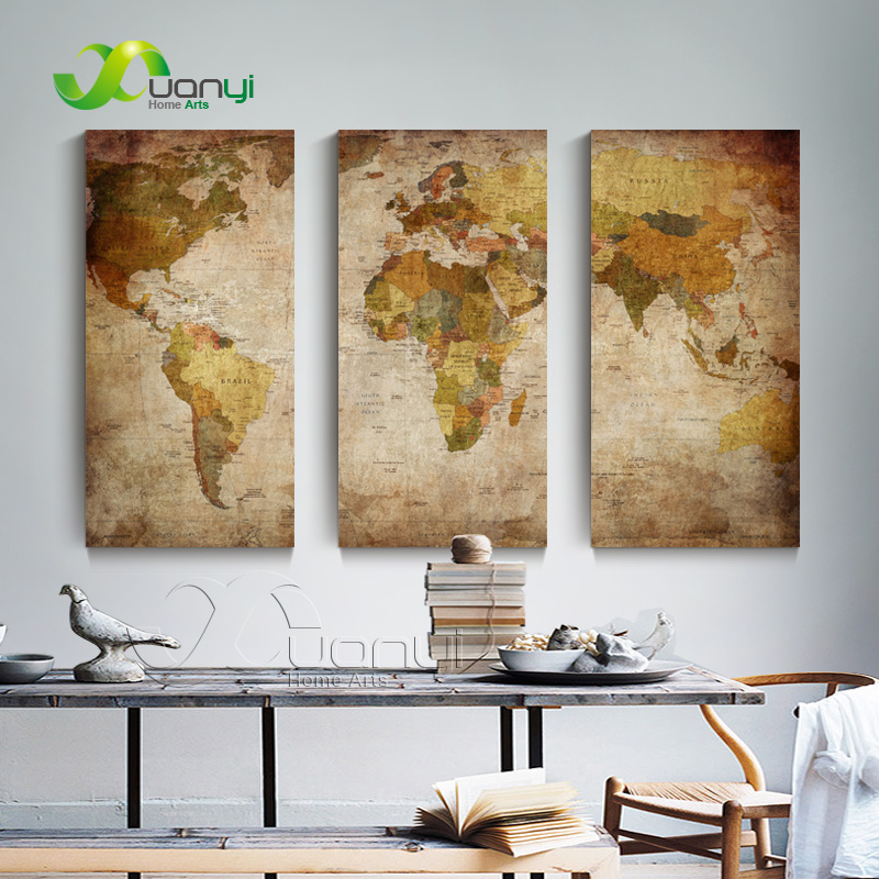 3 panel wall art world map painting vintage poster modern home decor for living room world map - Home decor stores mn paint ...