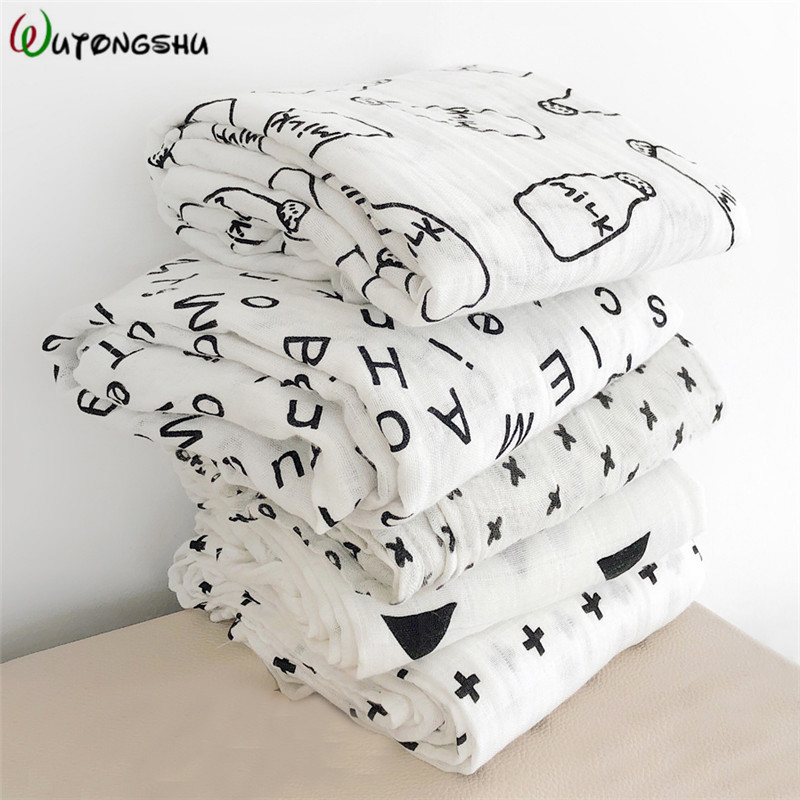 Muslin Wrap Newborn Baby Blankets Bath Gauze Baby Swaddles Soft Infant Wrap Sleepsack 100% Cotton Baby Stroller Cover Play Mat