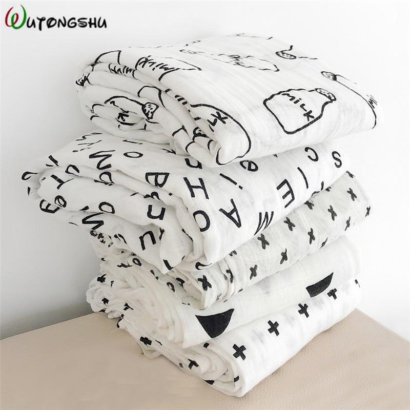 Muslin Wrap Newborn Baby Blankets Bath Gauze Baby Swaddles Soft Infant Wrap Sleepsack 100% Cotton Baby Stroller Cover Play Mat